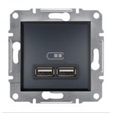 """Механизм USB-розетки Asfora Schneider Electric 2.1 A (2 входа), цвет """"Антрацит"""""""