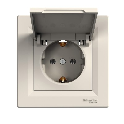 Розетка с заземлением и защитной крышкой Asfora 16А Schneider Electric (EPH3100123)