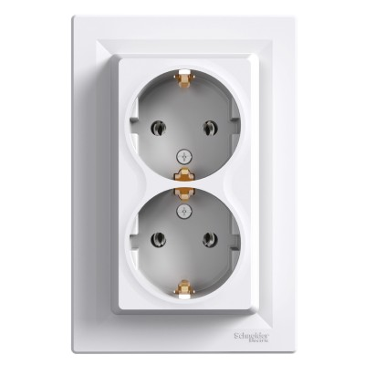 Двойная розетка с заземлением Asfora 16А IP44 Schneider Electric (EPH9900121)