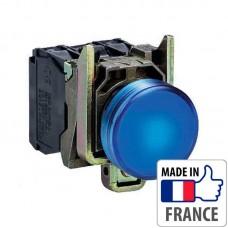 XB4BW36B5 Кнопка с подсветкой Schneider Electric XB4-B, синий светодиод, металл. основание, 1NO/1NC, 24В