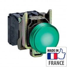 XB4BW33B5 Кнопка с подсветкой Schneider Electric XB4-B, зеленый светодиод, металл. основание, 1NO/1NC, 24В