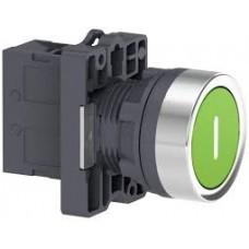 """XA2EA3311 Кнопка ХА2,пружинная поворотная, зеленый с белым """"I"""" ,1НО"""