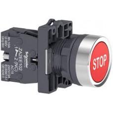 """XA2EA4342 Кнопка ХА2, пружинная поворотная, красная с """"STOP"""", 1НЗ"""