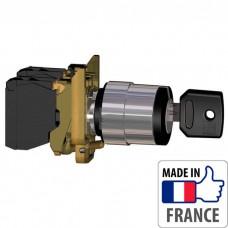 XB4BG21 Переключатель с ключом Schneider Electric XB4-B, 2 положения с фиксацией, металл. основание, 1NO