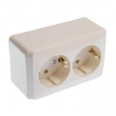 Розетка с заземляющим контактом и защитными шторками Prima кремовая WDE001148