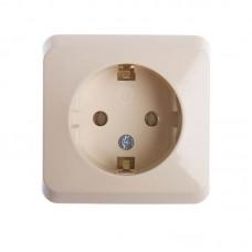 Розетка с заземляющим контактом и защитными шторками Prima кремовая WDE001180