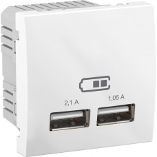 USB-розетка Unica 2.1 A (2 входа), белая (MGU3.418.18)