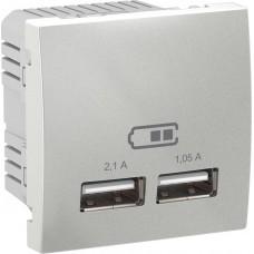 "USB-розетка Unica 2.1 A (2 входа), цвет ""Алюминий"" (MGU3.418.30)"
