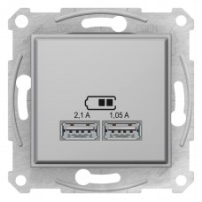 "USB-розетка 2,1 А серии Sedna (2 входа), цвет ""Титан"""
