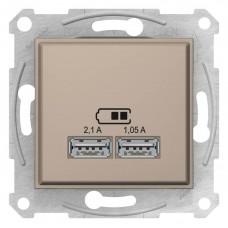 """USB-розетка 2.1 А Sedna (2 входа), цвет """"слоновая кость"""""""