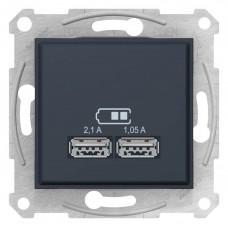 "USB-розетка Sedna 2.1 A (2 входа), цвет ""Графит"""
