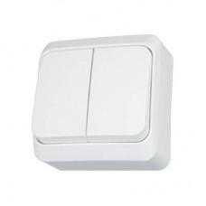 Выключатель двухклавишный Prima белый WDE001050
