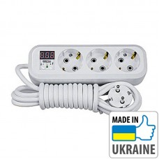 Однофазное реле контроля напряжения вилка-розетка ZUBR P316y, 16А, 3кВт